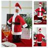 Christmas Santa Suit Hat Wine Bottle Wrap Cover Topper Pouch Bag Decoration