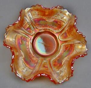 "c221 Fenton SAILBOATS / ORANGE TREE Marigold Carnival Glass 5¾"" Ruffled Bowl"