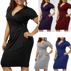Women-Summer-Plus-V-Neck-Bodycon-Asymmetrical-Formal-Party-Wrap-Maxi-Dress-LIU9