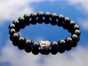 Buddha-Black-Onyx-Natural-Gemstone-Bracelet-6-9-039-039-Elasticated-Healing-Stone