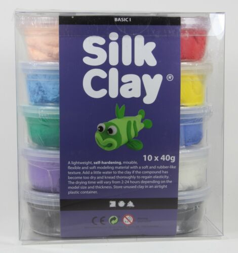 Silk Clay Seidenknete 10x40g Modelliermasse Basic Set I