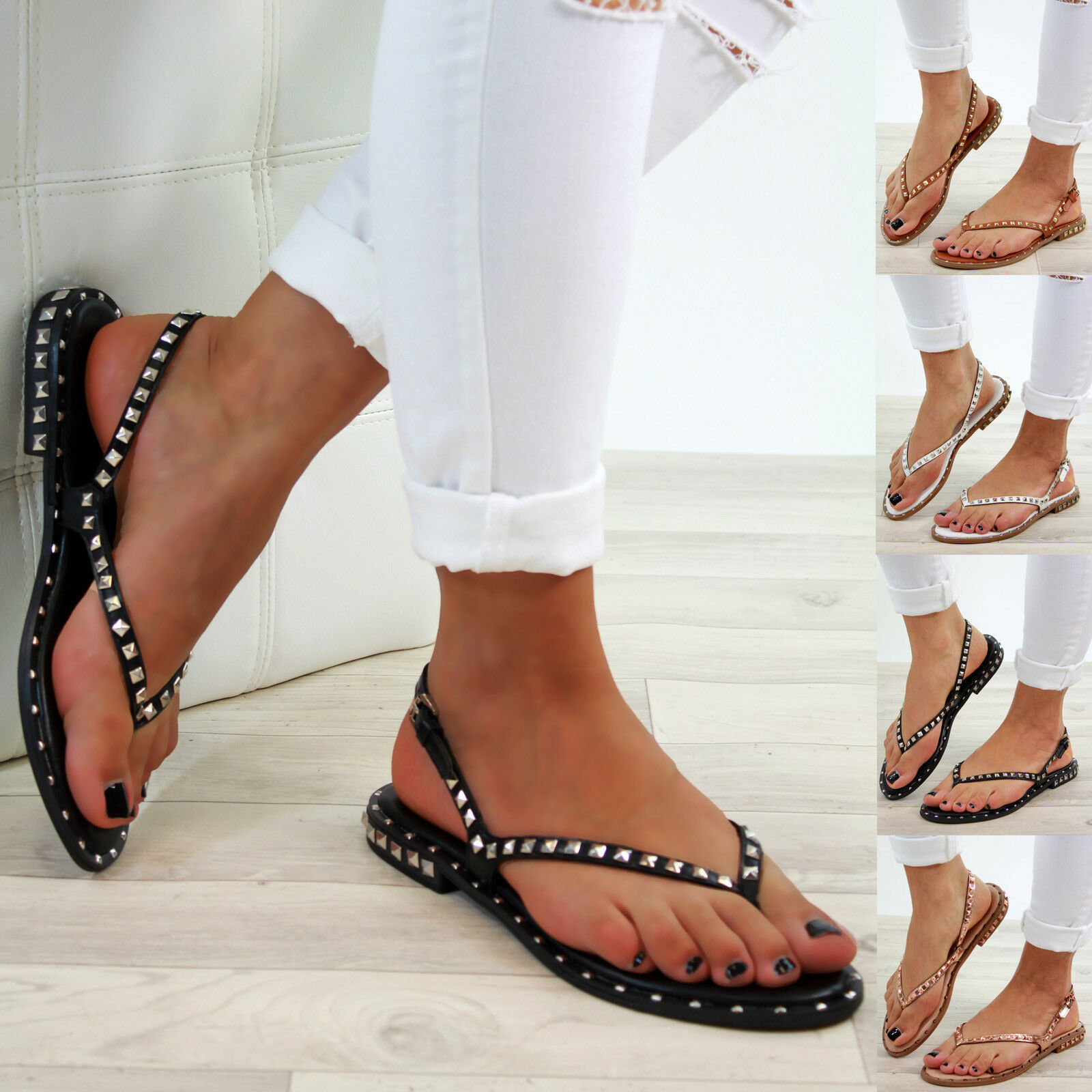 New Womens Low Heel Buckle Sandals Studs Toe Post Buckle Heel Comfy Holiday Shoes Sizes 3-8 0af754