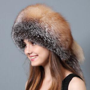4ef646538ad99 Image is loading Golden-Fox-Fur-Hat-with-Rex-Rabbit-Fur-