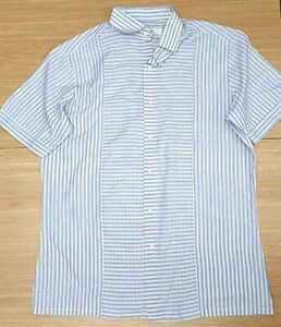 "VAN HEUSEN Vintage Mens Short Sleeve Sky Blue White Stripe Light Shirt 40"" Chest"