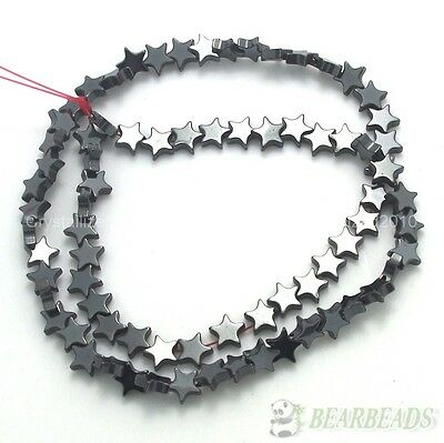 Natural Jet Hematite Gemstones Flat Star Spacer Loose Beads 6mm 8mm 10mm 16""
