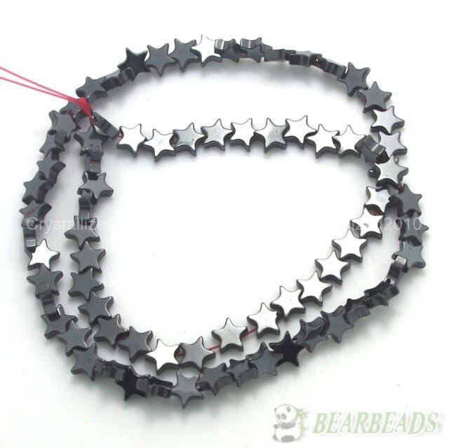 Natural Jet Hematite Gemstones Flat Star Loose Beads 16'' Strand 6mm 8mm 10mm