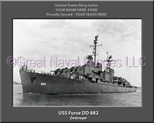 USS Furse DD 882 Personalized Canvas Ship Photo Print Navy Veteran Gift