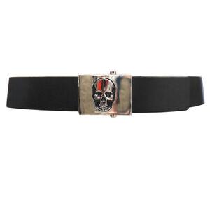 Lucien-Pellat-Finet-Black-Leather-Silver-Skull-Buckle-Belt-W32-IT80