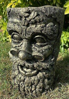 Pietra per giardino Green Man Ceppo plinto calcestruzzo Ornamento