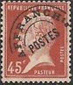 """Diplomatique France Preoblitere Timbre Stamp Yvert 67 """" Pasteur 45c Rouge """" Neuf Xx Ttb Haute Qualité"""