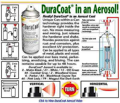 NEW - DuraCoat Firearm Finish - Aerosol Can with Hardener - #4 Matte Black