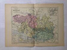 GRAVURE FRANCE ILLUSTREE DEPARTEMENT 56 MORBIHAN 1881 MALTE BRUN CARTE ERHARD