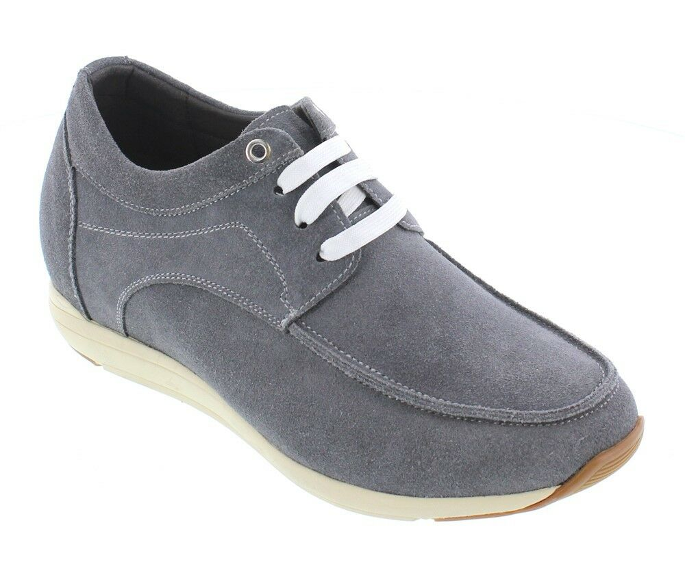 CALTO T52311 - 3 Inches Elevator Height Increasing Cement Casual Lace Up Sneaker