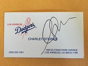 Charley steiner autograph los angeles dodgers business card signed image is loading charley steiner autograph los angeles dodgers business card reheart Images