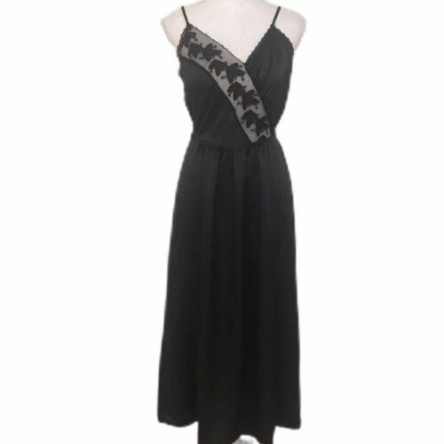 VTG 70s Miss Dior Black Satin Peignoir Set Gown Ro