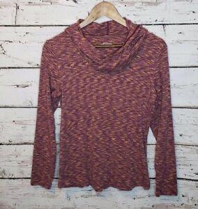 Columbia-Womens-Large-Maroon-Space-Dye-Outerspaced-Cowl-Neck-Hoodie-Sweatshirt