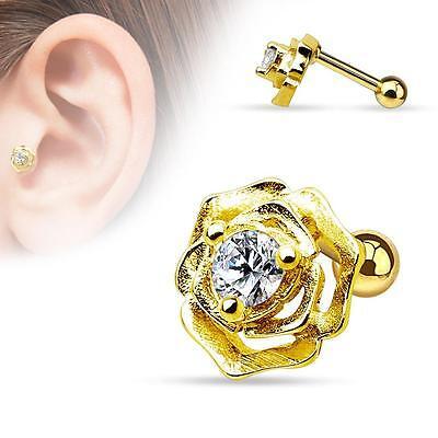 "Triple Gem CZ Droplet Tragus Cartilage Piercing Earring Stud 16 gauge 1//4/"" A71"