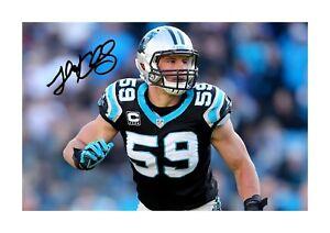 Luke-keuchly-3-NFL-Carolina-Panthers-signe-poster-Choix-de-cadre