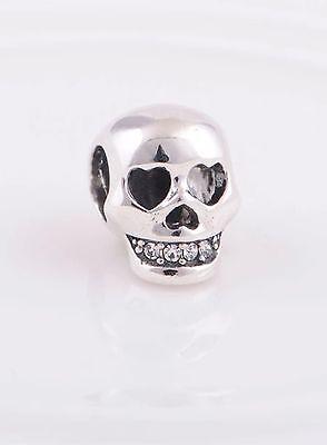 Skull Head Gothic Charm CZ stone teeth Fits  Sterling Silver  Bracelet