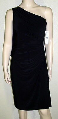 Ralph Lauren NWT Sz 10 Black One Shoulder Draped Ruched Sheath Dress $144 7164