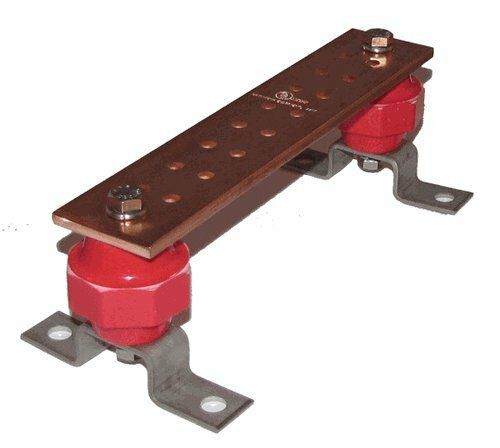 "Thickness .25/"" Width 2/"" Length 10/"" SCGB Wall Mounted Copper Ground Bus Bar Kit"