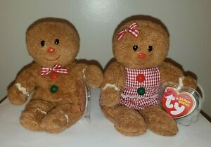 Ty Beanie Baby Set - HANSEL & GRETEL the Gingerbread Man - MINT with MINT TAGS