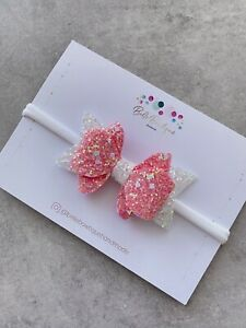 Stunning Pink Glitter Tinsel Bow White Pink Headband Baby Girl 2.5 Inches