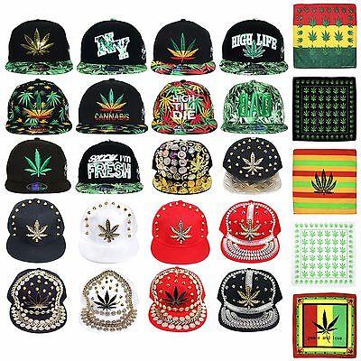 Cannabis Gangster Baseball Cap Bandana /& Socks Gilded Jewel Leaf // White 026