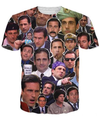 Many Faces of Michael Scott Paparazzi Mens Crew Tee T Shirts Hip Hop Street Wear