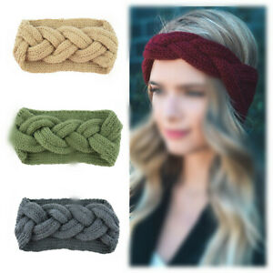 Women-Girl-Knitted-Headband-Cross-Twist-Turban-Wide-Warm-Crochet-Hair-Band-New