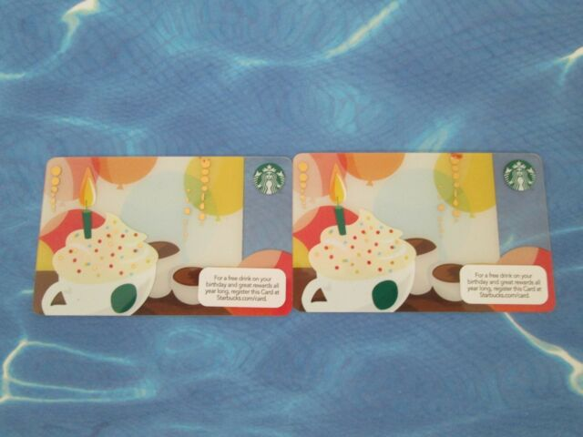 For Sales Starbucks Card Birthday Cup Cake Total 2 Cards Ebay