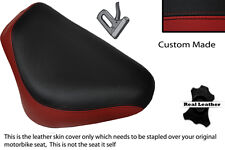 Negro Y Rojo Oscuro Custom Fits Yamaha Xvs 650 Delantero Rider Cuero Funda De Asiento