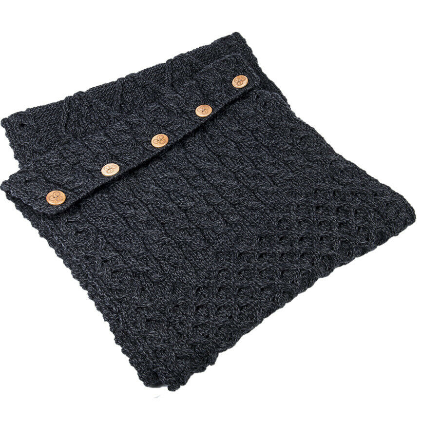 Aran Woollen Mills 100% Merino Wool Snood Scarf With Buttons Derby Colour