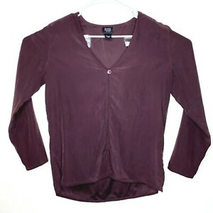 Eileen Fisher Womens Petite Small Blouse Top Silk Purple One Button Open Front