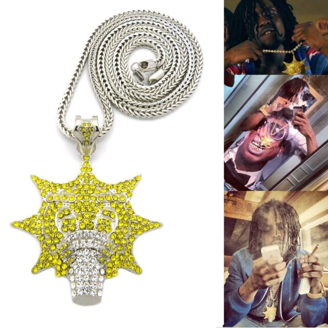 """NEW ICED OUT HIP HOP SILVER TONE CHIEF KEEF GLO GANG PENDANT W/ 36"""" FRANCO CHAIN"""