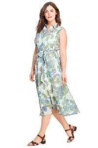 LANDS\' END Plus Size 26W Whisper Mint Floral Woven Shirt Dress NWT ...
