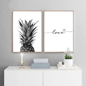 Pineapple Wall Art Canvas Posters Prints Nordic Love Quote Paintings Black White