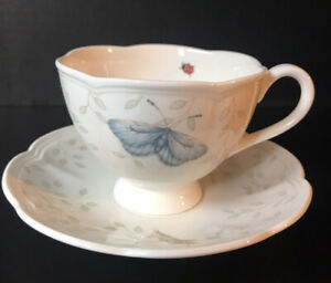 Lenox Butterfly Meadow Coffee Tea Cup and Saucer Grasshopper White Blue/Yellow