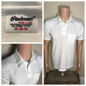 7f0b6aab96bef Vintage Stedman Polo T-shirt Deadstock NOS White Medium 50 50 pocket ...