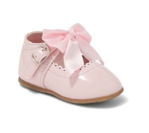 infants shoe with satin bow Melia Pink Patent Romany Spanish style baby