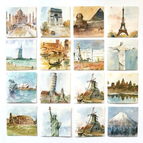 45 Pegatinas de Monumentos Mundo-Edificios Famosos-Pegatina De Pintura-estatuas//Monumentos