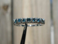 .35ctw Natural Blue Diamond Ring 7 Stone, 10k White Gold, Sparkles, Size 7