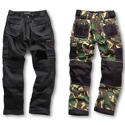 Mens Heavy Duty Pro Work Trousers Reinforced Knee Army Camo Black Workwear Ek Gute Begleiter FüR Kinder Sowie Erwachsene