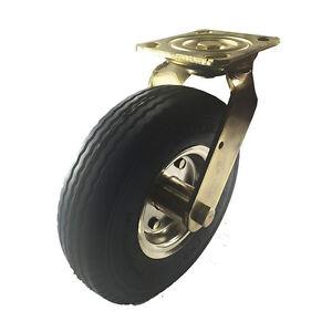 """8"""" x 2-1/2"""" Pneumatic Wheel Brass Caster (Foam-Flat Free) - Swivel"""