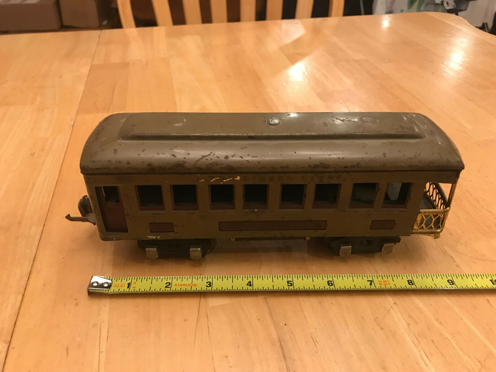 Lionel Train O - Prewar Olive Drab Army verde 612 Observation Passenger Car