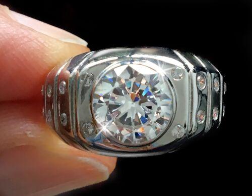 3 ct Extra Brilliant Men/'s Ring Top Vintage CZ Imitation Moissanite Simulant 9