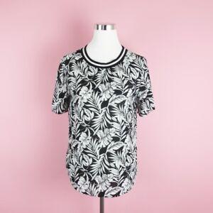 Hollister-Women-039-s-Ringer-Blouse-Size-Small-Short-Sleeve-Black-White-Leaf-Print