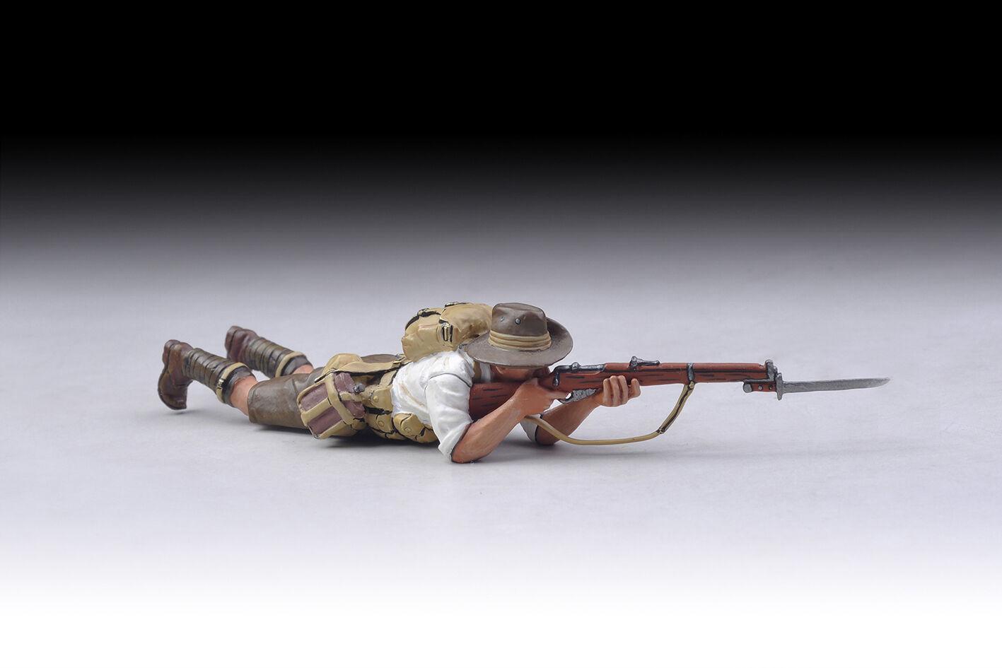 THOMAS GUNN GW057B - Aussie Lying Down White Shirt WW1 Painted Diecast Metal