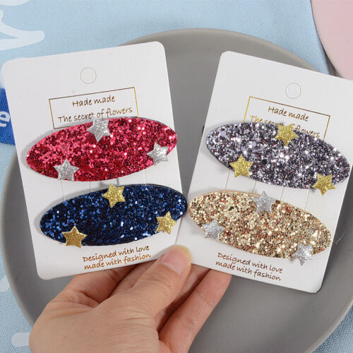 Women/'s Girls Rectangle Glitter Crystal Hair Clips Hairpins Barrette Slide Clips
