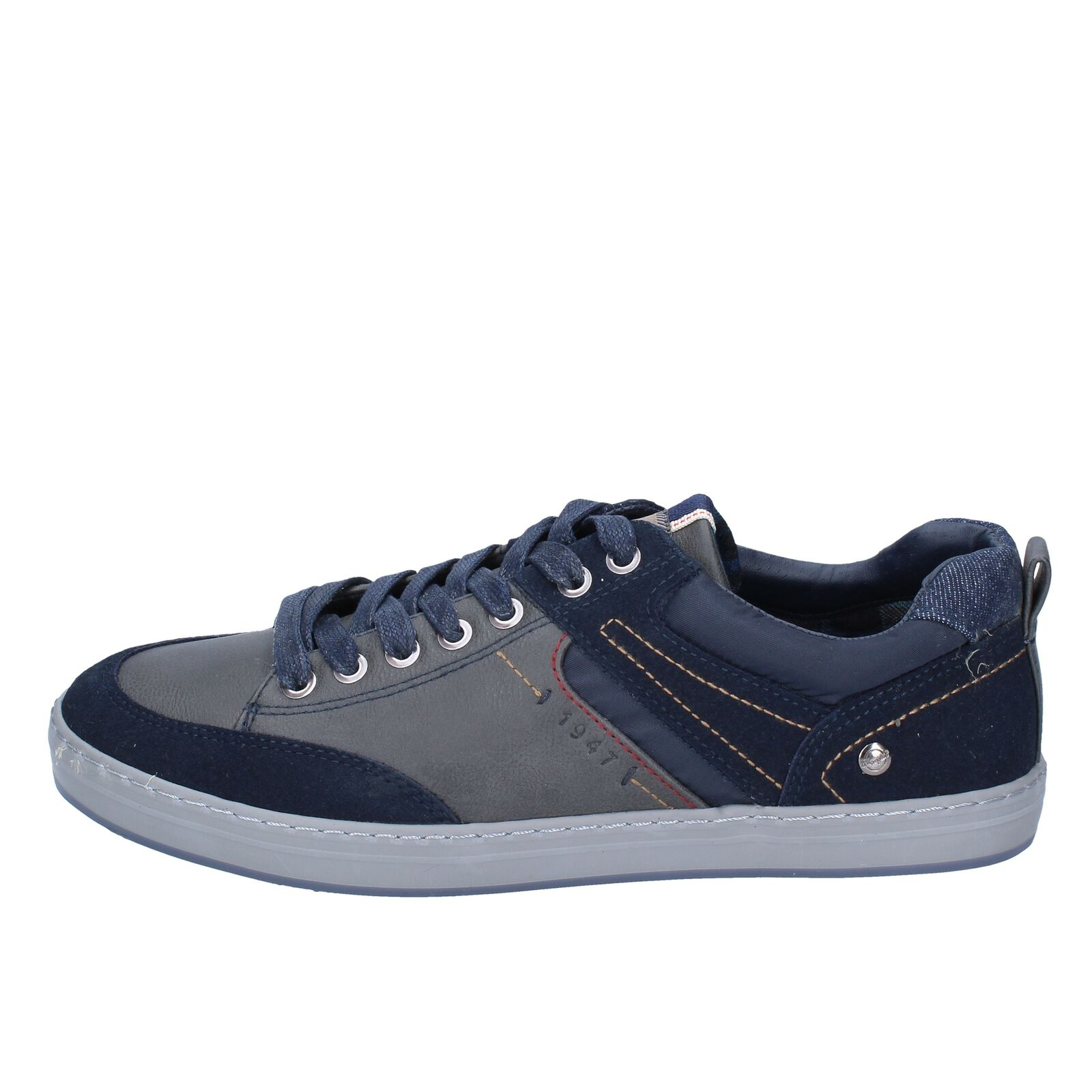 BS772 WRANGLER  shoes bluee synthetic leather textile men sneakers lace-up autumn